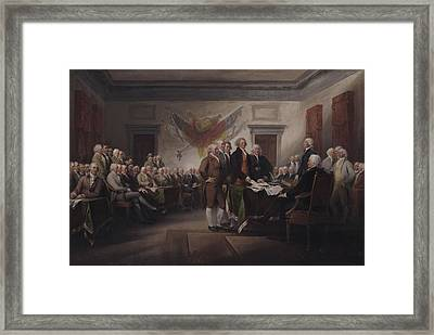 The Declaration Of Independence, July 4, 1776 Framed Print by John Trumbull