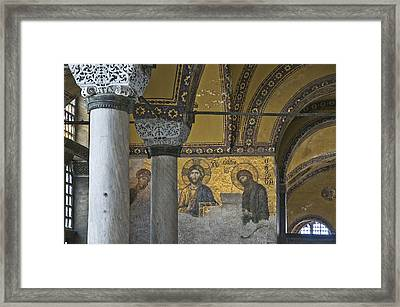 The Deesis Mosaic At Hagia Sophia Framed Print by Ayhan Altun