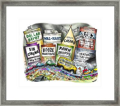 The Delights Of Modern Civilization Framed Print by Mark Armstrong