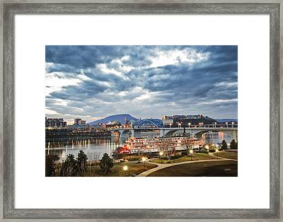 The Delta Queen And Coolidge Park At Dusk Framed Print