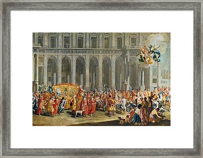 The Departure Of Alois Thomas Von Harrach, Viceroy Of Naples 1669-1742 From The Palazzo Reale Di Framed Print