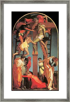 The Descent From The Cross Framed Print by Rosso Fiorentino