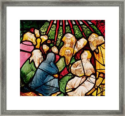 The Descent Of The Holy Spirit, C.1400 Stained Glass Framed Print by French School