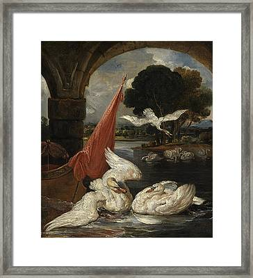 The Descent Of The Swan, Illustration Framed Print by James Ward