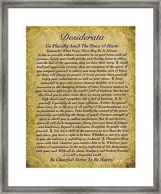 The Desiderata Poem On Antique Wallpaper Framed Print by Desiderata Gallery