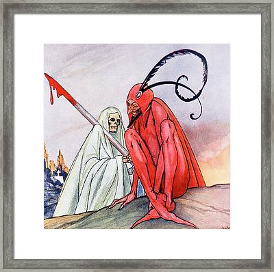 The Devil And Death. Illustration By Echea From La Esfera, 1914 Framed Print