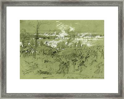 The Devils Den Gettysburg, Drawing, 1862-1865 Framed Print by Quint Lox