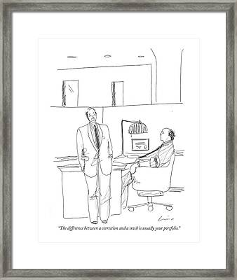The Difference Between A Correction And A Crash Framed Print by Richard Cline