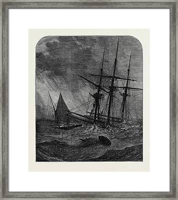 The Disaster In The Channel Cutters Boat Taking Survivors Framed Print