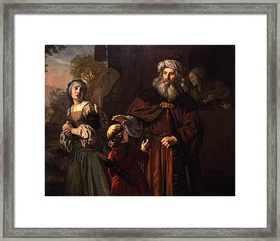 The Dismissal Of Hagar, 1650 Framed Print by Jan Victors
