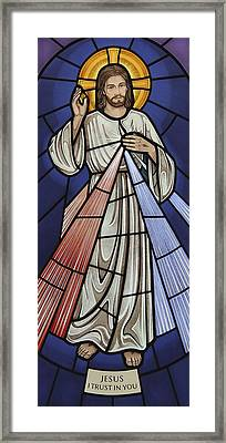 The Divine Mercy Framed Print by Gilroy Stained Glass