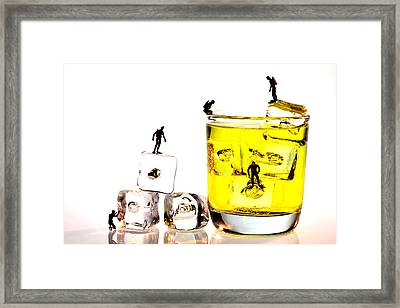 The Diving Little People On Food Framed Print by Paul Ge