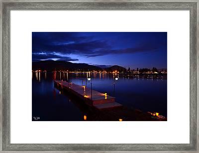 The Dock At Night- Skaha Lake 02-21-2014 Framed Print