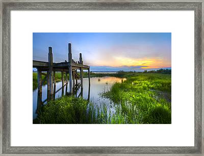 The Dock Framed Print by Debra and Dave Vanderlaan