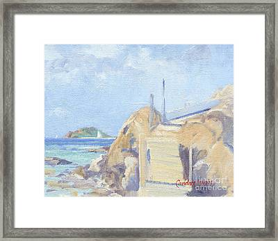 The Dock Water Island Framed Print by Candace Lovely