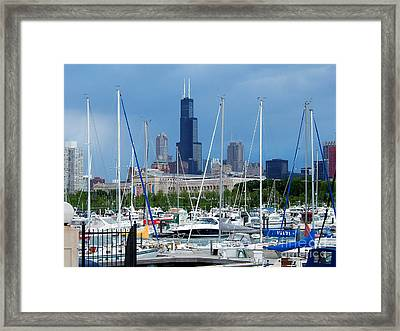 The Docks At Burnham Harbor Chicago Framed Print