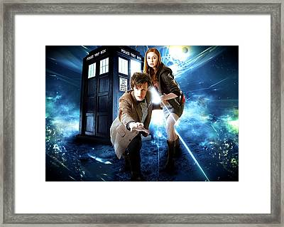 The Doctor And Amy Pond Framed Print