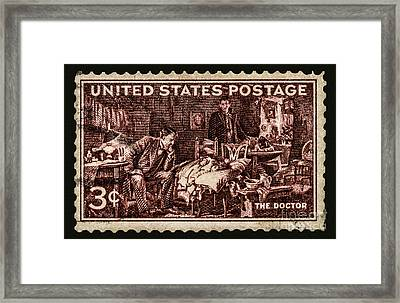 The Doctor - Concerned Physician Postage Stamp Framed Print by Phil Cardamone