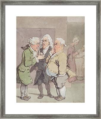The Doctors Consultation, 1815-1820 Pen And Ink And Wc Over Graphite On Paper Framed Print by Thomas Rowlandson