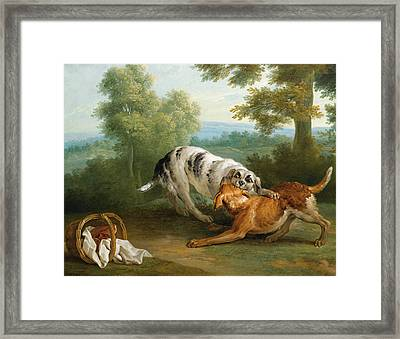 The Dog Carring His Dinner To His Master Framed Print by Jean-Baptiste Oudry