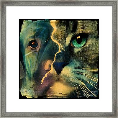 Framed Print featuring the digital art The Dog Connection -green by Kathy Tarochione