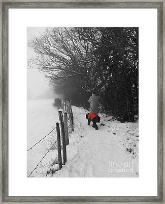 Framed Print featuring the photograph The Dog In The Red Coat by Vicki Spindler
