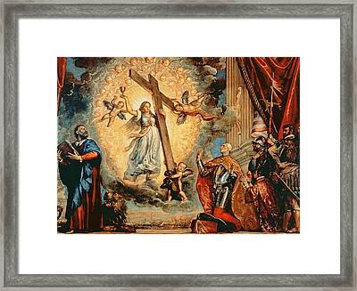 The Doge Grimani Kneeling Before Faith Framed Print by Titian