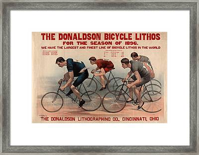 The Donaldson Bicycle Lithos For The Season Of 1896 Framed Print by Litz Collection