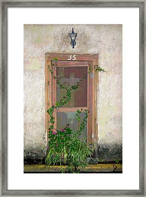 The Door At 35 Spanish Street Framed Print by Rebecca Korpita
