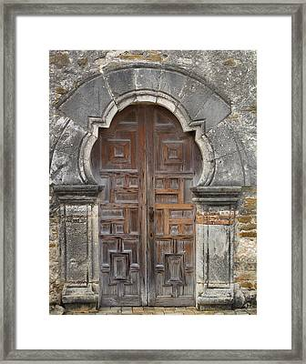 The Door Of Espada Mission  Framed Print