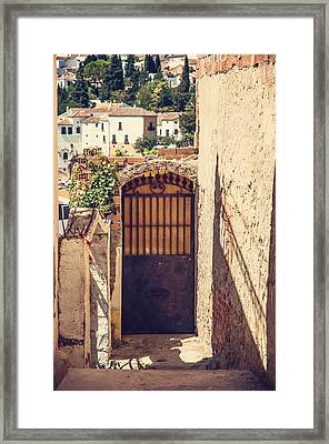 The Door With Overview Of Ronda Framed Print