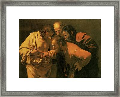 The Doubting Of St Thomas Framed Print by Caravaggio