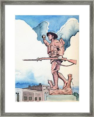 The Doughboy Stands Framed Print by Katherine Miller
