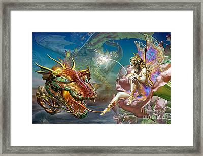 The Dragon And The Fairy Framed Print by Adrian Chesterman