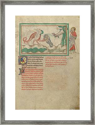 The Dragon Hurls Water After The Woman Clothed In The Sun Framed Print by Litz Collection