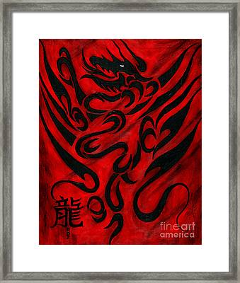 Framed Print featuring the painting The Dragon by Roz Abellera Art