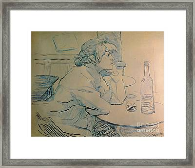 The Drinker Or An Hangover Framed Print by Henri de Toulouse-lautrec