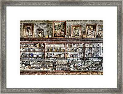 The Drug Store Counter Framed Print