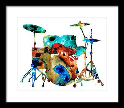 Rock And Roll Drummer Framed Prints