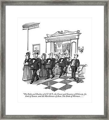 The Duke And Duchess Of A.t. & T Framed Print by Dana Fradon