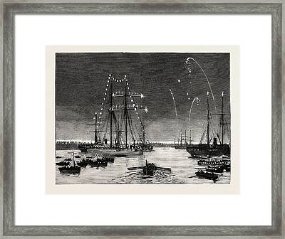 The Duke And Duchess Of Connaught Leaving Colombo At Night Framed Print by English School
