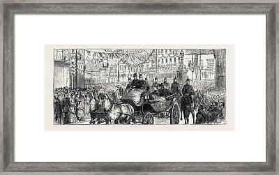 The Duke And Duchess Of Edinburgh At Ashford The Procession Framed Print by English School
