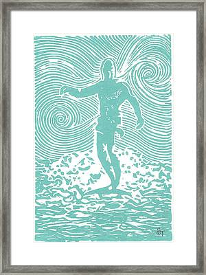 The Duke In Aqua Framed Print