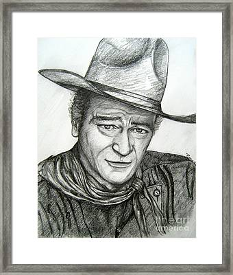 Framed Print featuring the drawing The Duke John Wayne by Patrice Torrillo