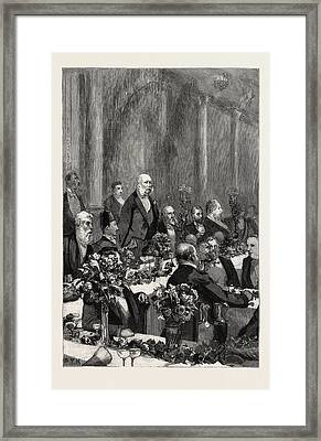 The Duke Of Cambridge Speaking At The Banquet In Honour Framed Print by English School