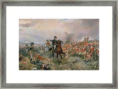 The Duke Of Wellington At Waterloo Framed Print