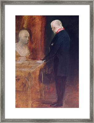 The Duke Of Wellington Studying A Bust Of Napoleon Framed Print by Charles Robert Leslie