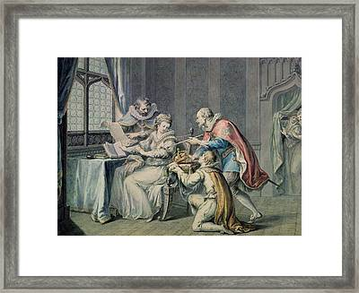 The Dukes Of Northumberland And Suffolk Praying Lady Jane Grey To Accept The Crown Framed Print by Giovanni Battista Cipriani