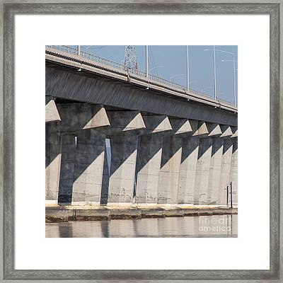 The Dumbarton Bridge In The South Bay Area California 5dimg2655 Square  Framed Print by Wingsdomain Art and Photography