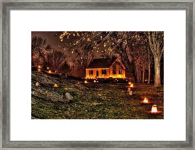 The Dunker Church 'n Flames-a1 - Antietam National Battlefield Memorial Illumination Framed Print by Michael Mazaika